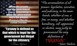 The current Federal Government is committing Tyranny against American citizens.