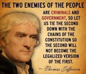 The two enemies of The People are criminals and government.